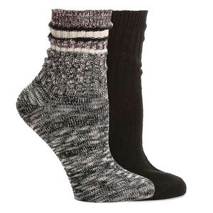HUE HOSIERY STRIPE WOMEN'S BOOT SOCKS - 2 PACK